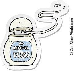 retro distressed sticker of a cartoon dental floss