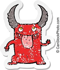 retro distressed sticker of a cartoon devil