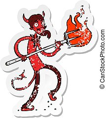 retro distressed sticker of a cartoon devil with pitchfork