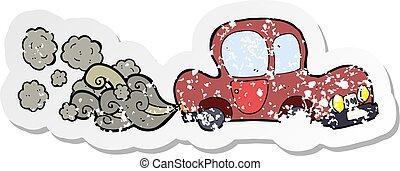 retro distressed sticker of a cartoon dirty old car