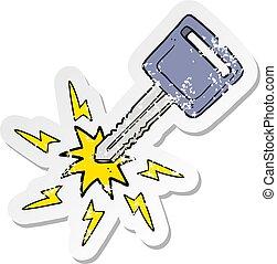 retro distressed sticker of a cartoon electric car key