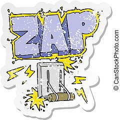retro distressed sticker of a cartoon electrical switch...