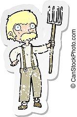 retro distressed sticker of a cartoon farmer with pitchfork