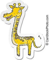 retro distressed sticker of a cartoon giraffe