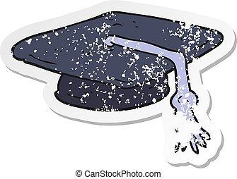 retro distressed sticker of a cartoon graduation cap