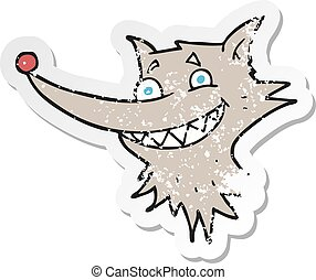 retro distressed sticker of a cartoon grinning wolf face