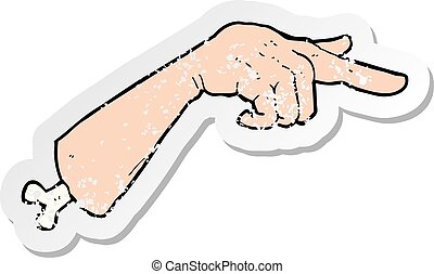 retro distressed sticker of a cartoon halloween pointing hand