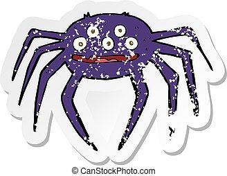 retro distressed sticker of a cartoon halloween spider