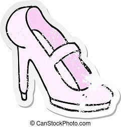 retro distressed sticker of a cartoon high heeled shoe