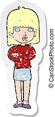 retro distressed sticker of a cartoon impatient woman