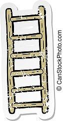 retro distressed sticker of a cartoon ladder