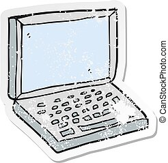 retro distressed sticker of a cartoon laptop computer
