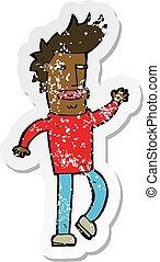 retro distressed sticker of a cartoon loudmouth man