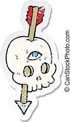 retro distressed sticker of a cartoon magic skull with arrow through brain