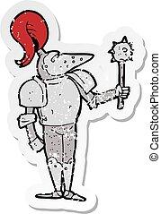retro distressed sticker of a cartoon medieval knight