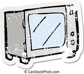 retro distressed sticker of a cartoon microwave