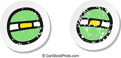 retro distressed sticker of a cartoon narrowed alien eyes