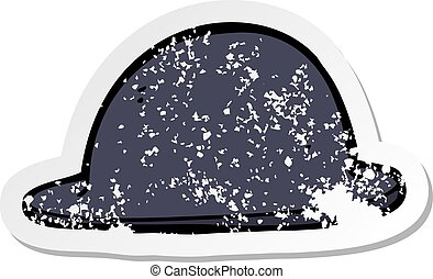 retro distressed sticker of a cartoon old bowler hat