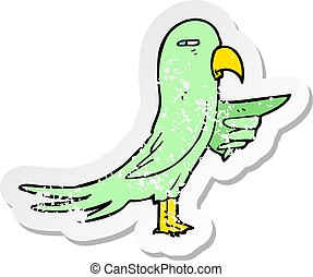 retro distressed sticker of a cartoon parrot