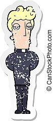 retro distressed sticker of a cartoon priest