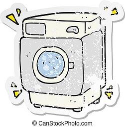 retro distressed sticker of a cartoon rumbling washing...