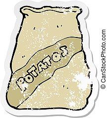 retro distressed sticker of a cartoon sack of potatos
