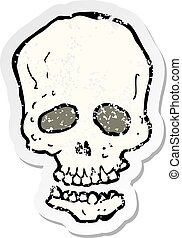 retro distressed sticker of a cartoon skull