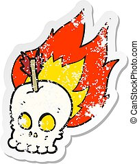 retro distressed sticker of a cartoon skull with arrow