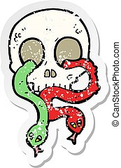 retro distressed sticker of a cartoon skull with snakes