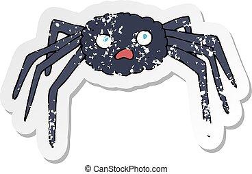 retro distressed sticker of a cartoon spider