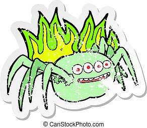 retro distressed sticker of a cartoon spooky spider