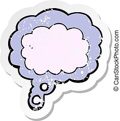 retro distressed sticker of a cartoon thought cloud