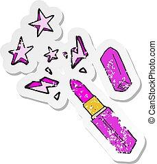 retro distressed sticker of a cartoon vivid lipstick