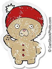 retro distressed sticker of a cartoon waving teddy bear in winter hat