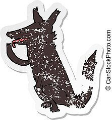 retro distressed sticker of a cartoon wolf licking paw
