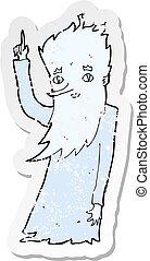 retro distressed sticker of a jack frost cartoon