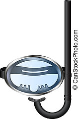 Retro diving goggles with snorkel on white background