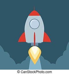 retro, do góry, początek, pojęcie, rakieta