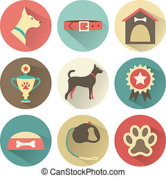 Retro dog icons set. Vector illustration for web, mobile...