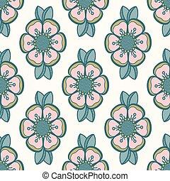 Retro dog-rose rose hip pattern, fashion floral design. ...