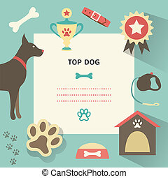 Retro dog template with profile canine full, collar, kennel, cup