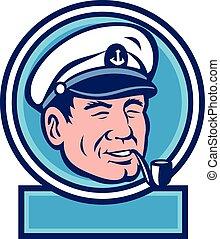 retro, dohányzó, tenger, pipa, karika, kapitány
