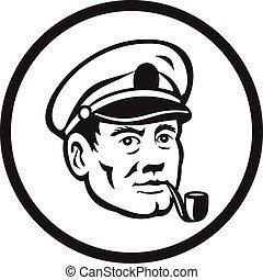 retro, dohányzik, tenger, pipa, karika, kapitány