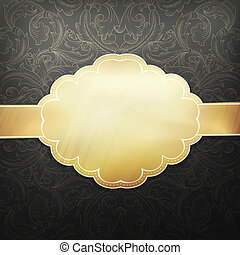 retro, doré, carte, conception, template., vecteur, eps, 10