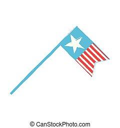 retro, drapeau américain, isolé