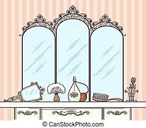 Retro dressing table vector. Mirror and hairbrush, perfumes...