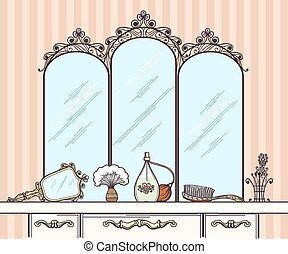Retro dressing table vector. Mirror and hairbrush, perfumes...