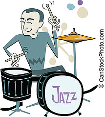 Cartoon of a man playing a drum kit