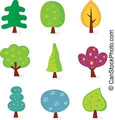 retro, drzewo, projekty