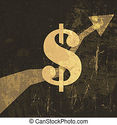 Retro earnings grow up illustration. Dollar sign, Vector